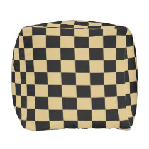 Gold and Black Checked Outdoor Pouf