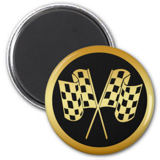 GOLD AND BLACK CHECKERED FLAG 2 INCH ROUND MAGNET