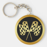 GOLD AND BLACK CHECKERED FLAG KEY CHAIN