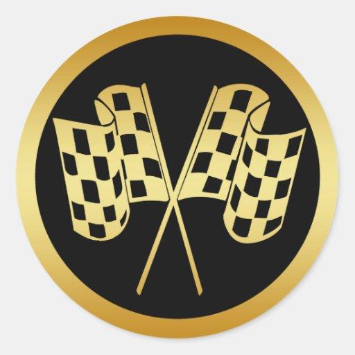 GOLD AND BLACK CHECKERED FLAG ROUND STICKER