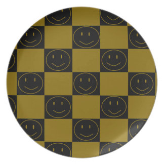 Gold and Black Checkered Happy Faces Plate