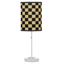 Gold and Black Checkered Shaded Lamp