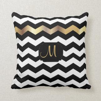 Gold and Black Chevron Design Throw Pillow