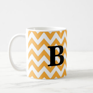Gold and Black Chevron Monogram Mug