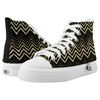 Gold And Black Chevron Printed Shoes