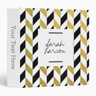 Gold and Black Chevron Professional Binder