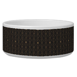 Gold and Black Christmas Symbols Seamless Pattern Bowl