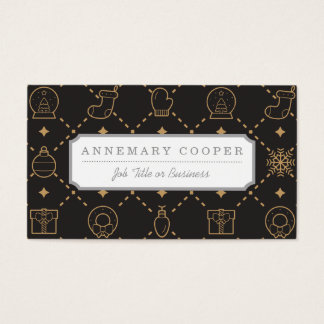 Gold and Black Christmas Symbols Seamless Pattern Business Card