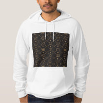 Gold and Black Christmas Symbols Seamless Pattern Hoodie