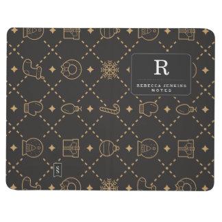 Gold and Black Christmas Symbols Seamless Pattern Journal