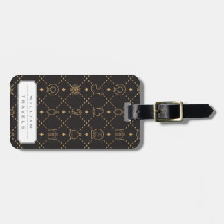 Gold and Black Christmas Symbols Seamless Pattern Luggage Tag