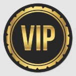 Gold and Black Circle VIP Party Pass Classic Round Sticker