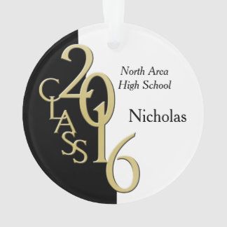 Gold and Black Class of 2016 Graduation Photo Ornament