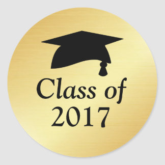 Gold and Black Class of 2017 Graduation Favor Classic Round Sticker