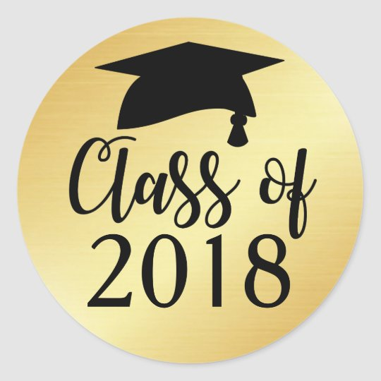 gold_and_black_class_of_2018_graduation_favor_classic_round_sticker rc1ad4c5b5e7346879a653cf27544ccf6_v9waf_8byvr_540