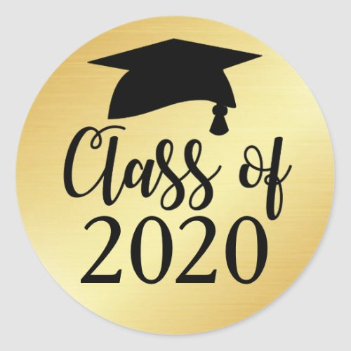 Gold and Black Class of 2020 Graduation Favor Classic Round Sticker