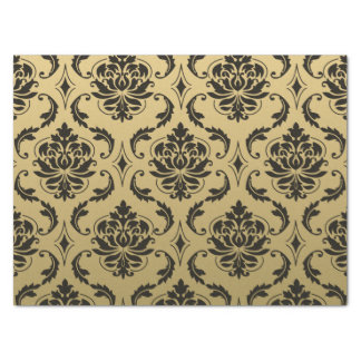 "Gold and Black Classic Damask 15"" X 20"" Tissue Paper"