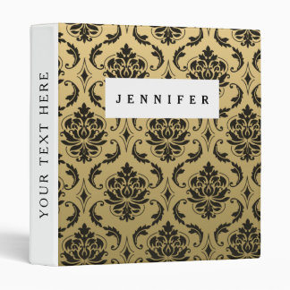 Gold and Black Classic Damask 3 Ring Binder