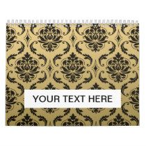 Gold and Black Classic Damask Calendar
