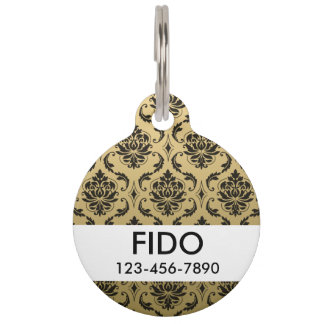Gold and Black Classic Damask Pet ID Tag