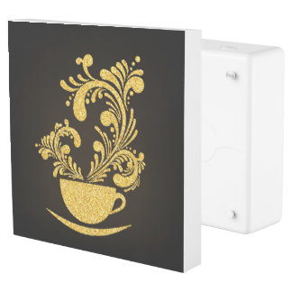 Gold and Black Coffee / Tea Cup Outlet Cover