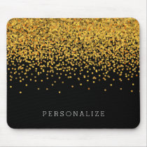 Gold and Black Confetti Mouse Pad