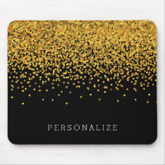 Gold And Black Confetti Mouse Pad at Zazzle
