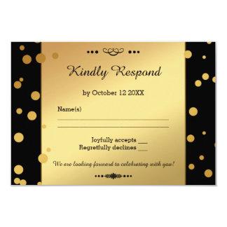 Gold and Black Confetti Wedding RSVP Card