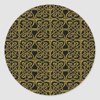 Gold And Black Connected Ovals Celtic Pattern Classic Round Sticker