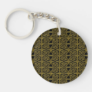 Gold And Black Connected Ovals Celtic Pattern Keychain