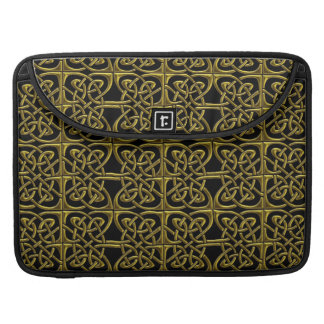 Gold And Black Connected Ovals Celtic Pattern MacBook Pro Sleeves