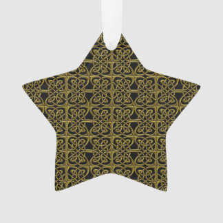 Gold And Black Connected Ovals Celtic Pattern Ornament