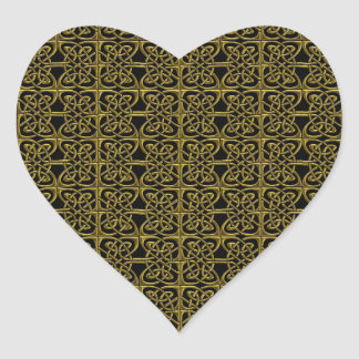Gold And Black Connected Ovals Celtic Pattern Heart Sticker