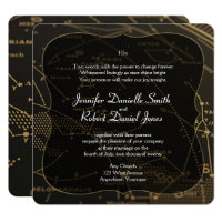 Gold and Black Constellation Wedding Invitation