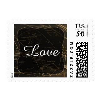 Gold and Black Constellation Wedding Stamp