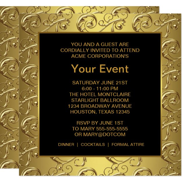 Gold and Black Corporate Party Event Card | Zazzle.com