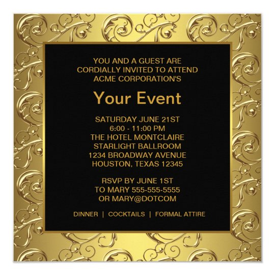 Gold And Black Corporate Party Event Card Zazzle Com