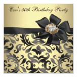 Gold and Black Damask 50th Birthday Party Personalized Invites
