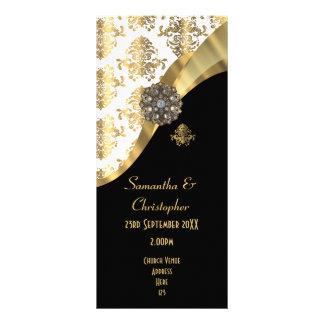 Gold and black damask church wedding program personalized rack card