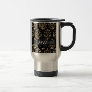 Gold and black damask monogrammed travel mug