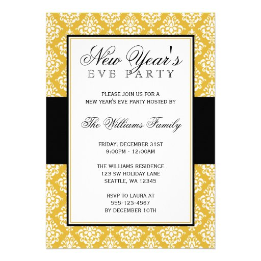 Gold and Black Damask New Years Eve Party Invitation