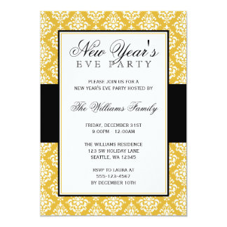 Gold and Black Damask New Years Eve Party 5x7 Paper Invitation Card