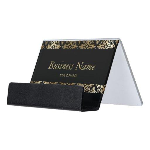 Gold and Black Damask Pattern Desk Business Card Holder