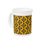 Gold and Black Damask Pattern Drink Pitchers