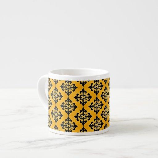 Gold and Black Damask Pattern 6 Oz Ceramic Espresso Cup