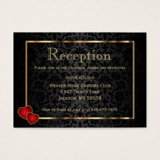 Gold and Black Damask - Reception Business Card