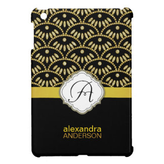 Gold and Black Damask Seigaiha Cover For The iPad Mini