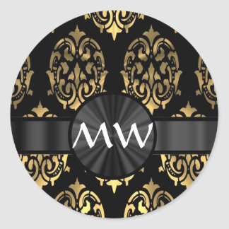 Gold and black damask classic round sticker