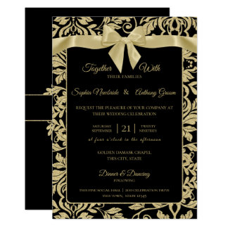 Gold and Black Damask with Bow Wedding Invitation