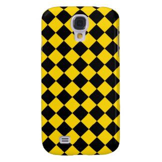 Gold and Black Diagonal Checkerboard Design Samsung Galaxy S4 Case